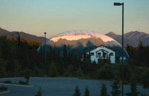 Sports Dome and the mountains